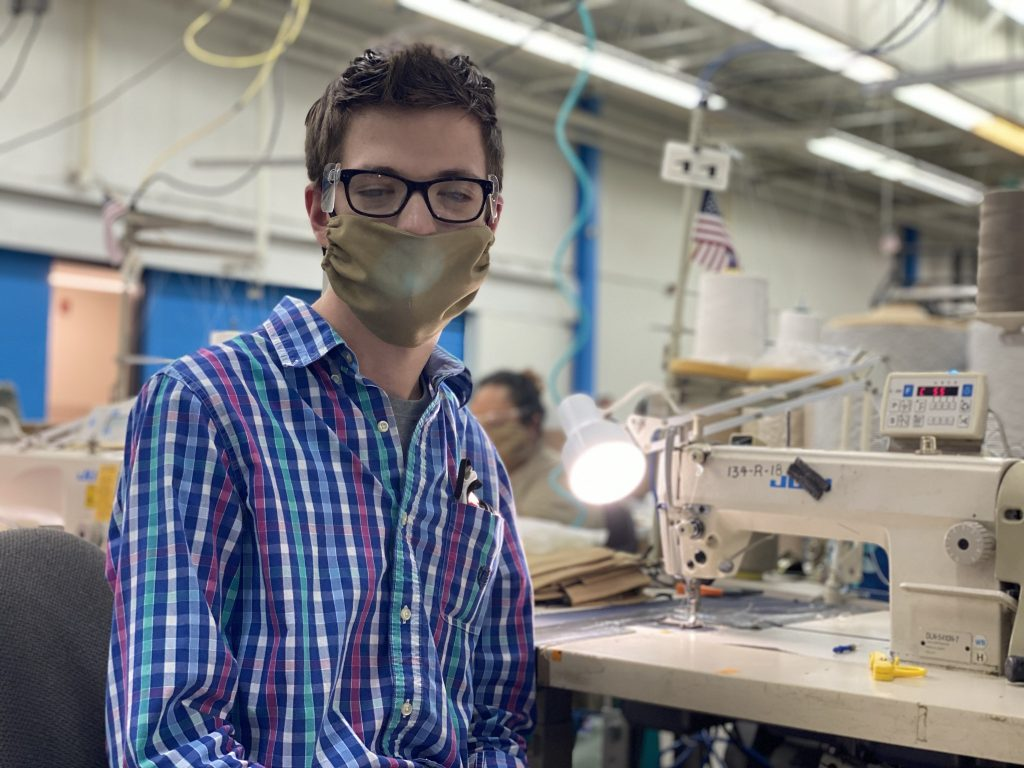 IFB Solutions employee works on mask production for the US Navy